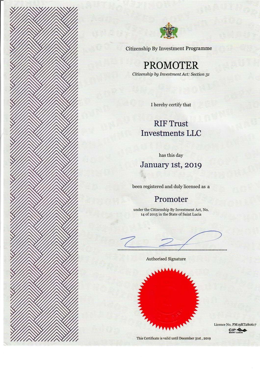 Citizenship by investment certificate